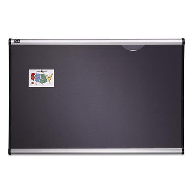 Quartet - Prestige Bulletin Board, Diamond Mesh Fabric, 72 x 48, Gray/Aluminum Frame