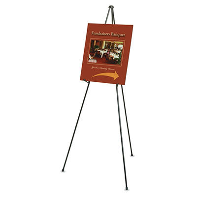 "Quartet Heavy-Duty Adjustable Instant Easel Stand, 15"" to 63"" High, Steel, Black"