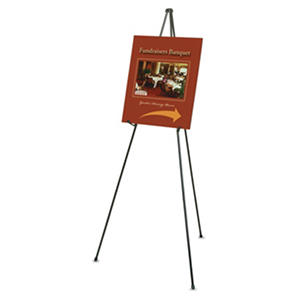 "Quartet - Heavy-Duty Adjustable Instant Easel Stand, 25"" to 63"" High, Steel -  Black"