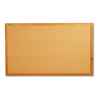 Quartet - Classic Cork Bulletin Board, 60 x 36 -  Oak Finish Frame
