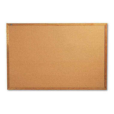 Quartet - Classic Cork Bulletin Board, 72 x 48 -  Oak Finish Frame