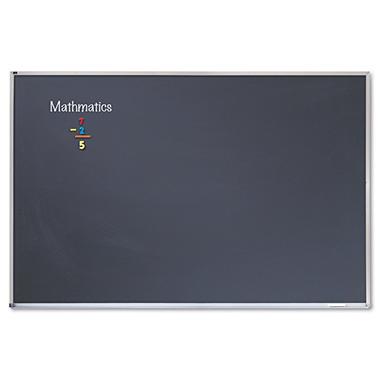 Quartet - Porcelain Black Chalkboard with Aluminum Frame, 48 x 96 - Silver