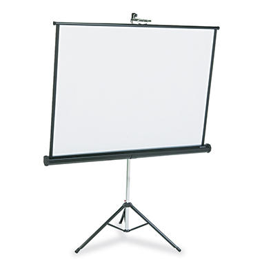 Quartet - Portable Tripod Projection Screen, 50 x 50, White Matte -  Black Steel Case