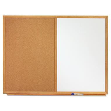 Quartet Combo Bulletin Board, Dry-Erase Melamine/Cork, 36 x 24, White, Oak Frame
