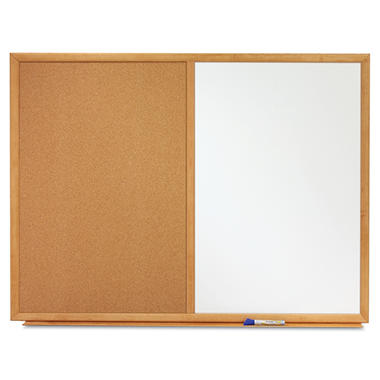Quartet - Bulletin/Dry-Erase Board, Melamine/Cork, 36 x 24, White/Brown -  Oak Finish Frame