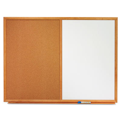 "Quartet 48"" x 36"" Dry-Erase Melamine and Cork Bulletin Board Combo, White with Oak Frame"
