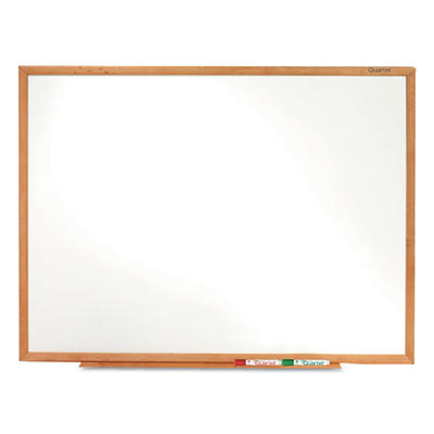 "Quartet - Standard Dry-Erase Board, 36"" x 24"", Oak Finish Wood Frame"