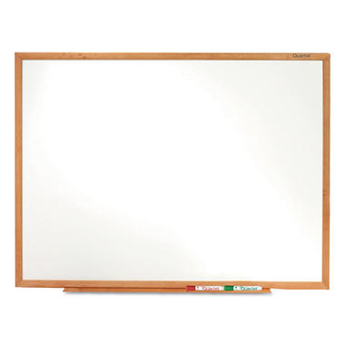Quartet - Classic Melamine Whiteboard, 96 x 48 -  Oak Finish Frame