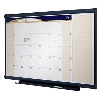 "Quartet Prestige Total Erase Monthly Calendar - 48"" x 36"" - Gray Aluminum Frame"