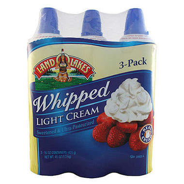 Land O'Lakes? Whipped Light Cream 15 oz. cans - 3 ct.