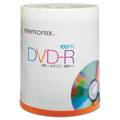 Memorex - DVD-R Discs, 4.7GB, 16x, Spindle, Silver -  100/Pack