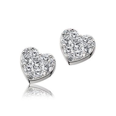 0.33 ct. t.w. Diamond Heart Earrings in 14K White Gold (H-I, I1)