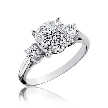 0.74 ct. t.w. Touch Setting� 3-Stone Diamond Engagement Ring in 14k White Gold (I, I1)
