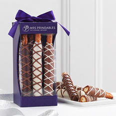 Mrs. Prindables Chocolate & Caramel Dipped Pretzel Rods, 9-Piece Gift
