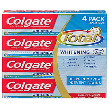 Colgate Total Whitening Toothpaste, Paste (7.8 oz., 4 pk.)