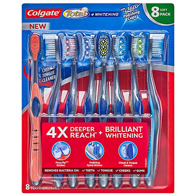 Colgate Total Whitening Toothbrush, Soft (8 pk.)