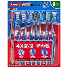 Colgate Total Whitening Toothbrush, Soft or Medium (8 pk.)