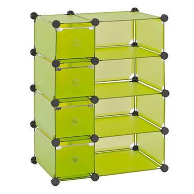 "Sandusky Modular Cube with Drawers Storage System - Green - 32.5""W x 14.75""D x 32""H"