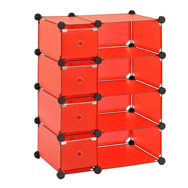 "Sandusky Modular Cube with Drawers Storage System - Red - 32.5""W x 14.75""D x 32""H"