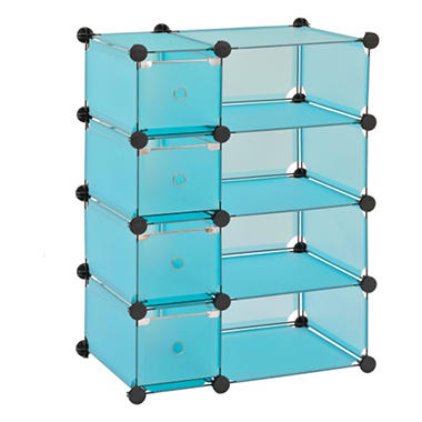 "Sandusky Modular Cube with Drawers Storage System - Blue - 32.5""W x 14.75""D x 32""H"