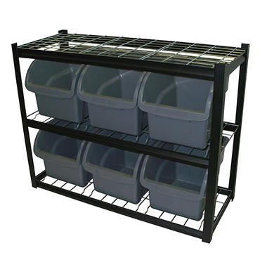 Edsal Industrial Bin Unit Shelving, 6 Jumbo Bins - Black