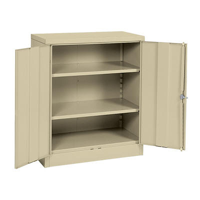 """Sandusky Quick Assembly Steel Counter Height Cabinet - Putty - 36""""W x 18""""D x 42""""H"""