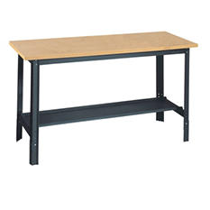 Edsal Commercial Adjustable-H Workbench with Wood Top - 60 in. W x 24 in. D x 33 in. H