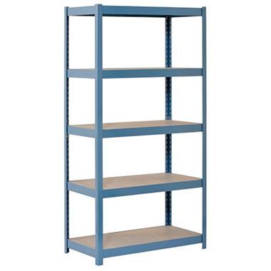 Muscle Rack 5-Shelf Heavy Duty Blue Steel Shelving - 36 in. W x 18 in. D x 72 in. H