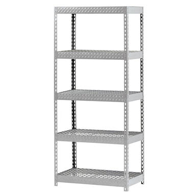 Edsal Heavy-Duty 5-Shelf Treadplate Steel Shelving with Wire Decking