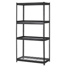 Muscle Rack 4-Shelf Heavy Duty Steel Shelving, Black