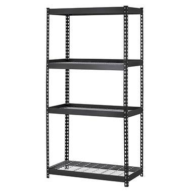 Muscle Rack 4-Shelf Heavy Duty Steel Shelving, Black