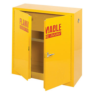 "Sandusky Flammable Safety Steel Cabinet - Yellow - 43""W x 18""D x 44""H"