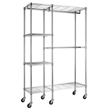 "Steel Garment Rack in Chrome (48"" W x 74"" H x 18"" D)"