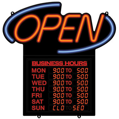 "20"" Business Hours ""Open"" Sign"