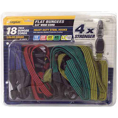CargoLoc Flat Color-Coded Bungee Cords - 18pc