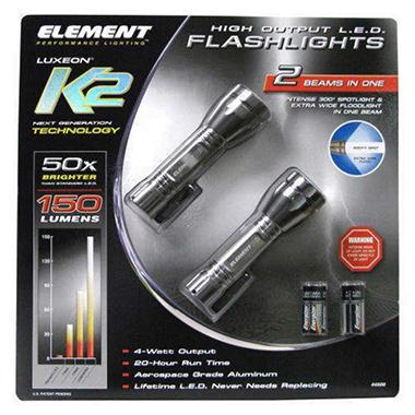 Element Super Bright LED Flashlight - 2 ct.