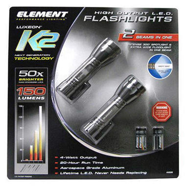 Element Super Bright LED Flashlight - 2 ct.