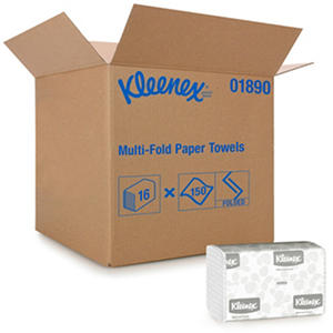 Kimberly-Clark Professional - KLEENEX Multifold Paper Towels, 9 1/5 x 9 2/5, White, 150/Pack -  16 Packs/Carton