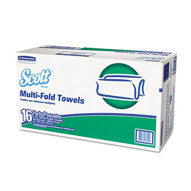 Kimberly- Clark Professional* - Folded Paper Towels, Multifold, 9 2/5 x 9 1/5, White, 250/Pack -  16 Packs/Carton