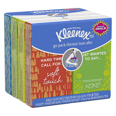 Kleenex Facial Tissue Pocket Packs, 3-Ply, White, 10/Pouch -  8 Pouches/Pack