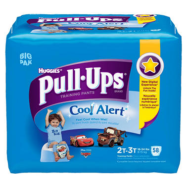 Huggies Pull-Ups Training Pants with Cool Alert for Boys, Size 2T-3T (18-34 lbs.), 58 ct.