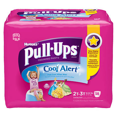 Huggies Pull-Ups Training Pants with Cool Alert for Girls, Size 2T-3T (18-34 lbs.), 58 ct.