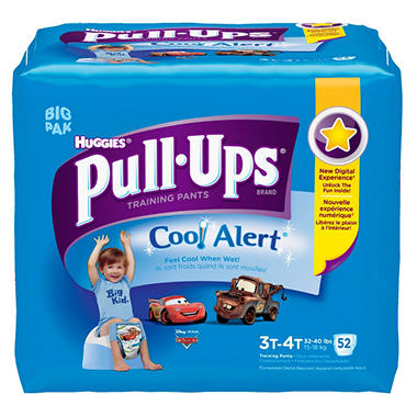 Huggies Pull-Ups Training Pants with Cool Alert for Boys, Size 3T-4T (32-40 lbs.), 52 ct.