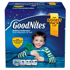 GoodNites Bedtime Underwear for Boys, Size 4-8 (38-65 lbs.), 56 ct.