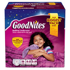 GoodNites Bedtime Underwear for Girls, Size 4-8 (38-65 lbs.), 56 ct.
