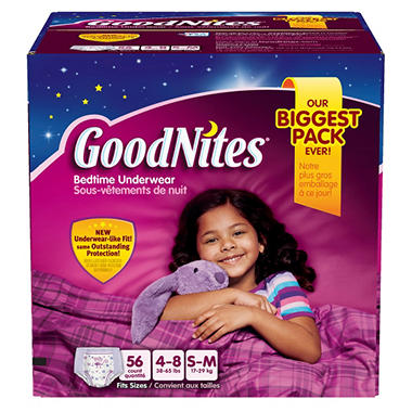 GoodNites Underwear for Girls, Size 4-8 (38-65 lbs.), 56 ct.