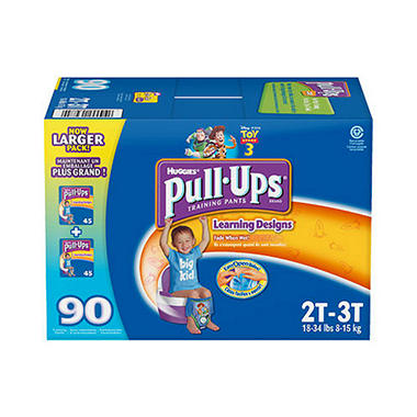Huggies Pull-Ups Training Pants for Boys, Size 2T-3T (18-34 lbs.), 90 ct.