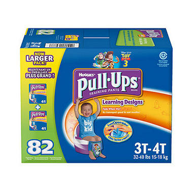 Huggies Pull-Ups Training Pants for Boys, Size 3T-4T (32-40 lbs.), 82 ct.