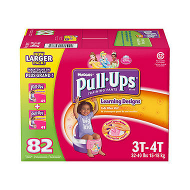 Huggies Pull-Ups Training Pants for Girls, Size 3T-4T (32-40 lbs.), 82 ct.