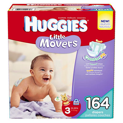 Huggies Little Movers Diapers, Size 3 (16-28 lbs.), 164 ct.